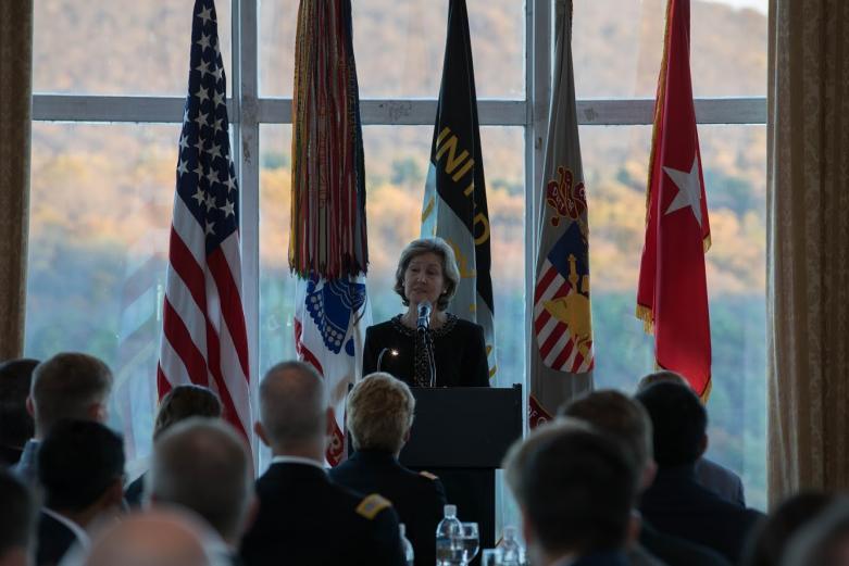 The keynote speaker, Ambassador Kay Bailey Hutchison, addresses SCUSA 2019.