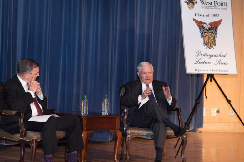 Former Secretary of Defense Bob Gates addresses cadets in Robinson Auditorium.