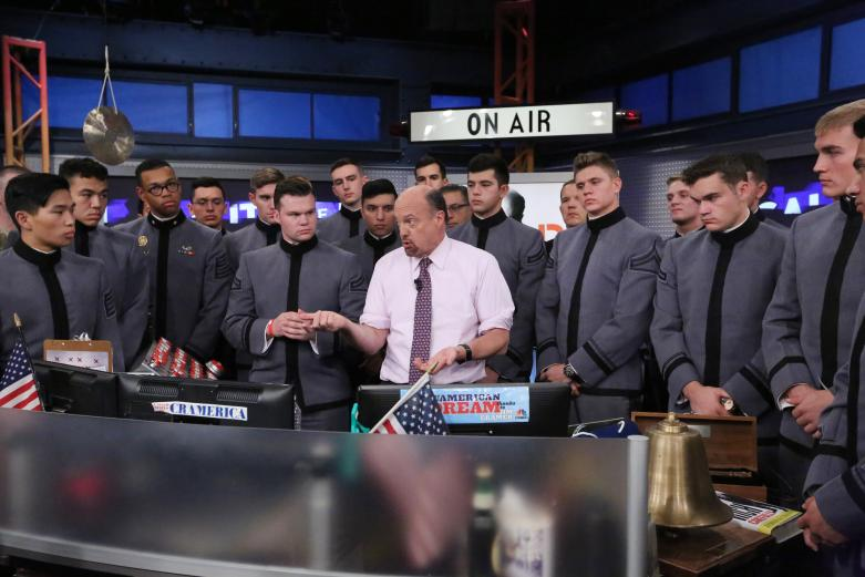 Jim Cramer, host of CNBC's Mad Money, discusses financial markets with cadets at a live taping.