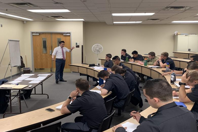 Professor Charles Wang, Harvard Business School, delivers a guest lecture to cadets in SS394, bringing lesson material to life through an integrative case study