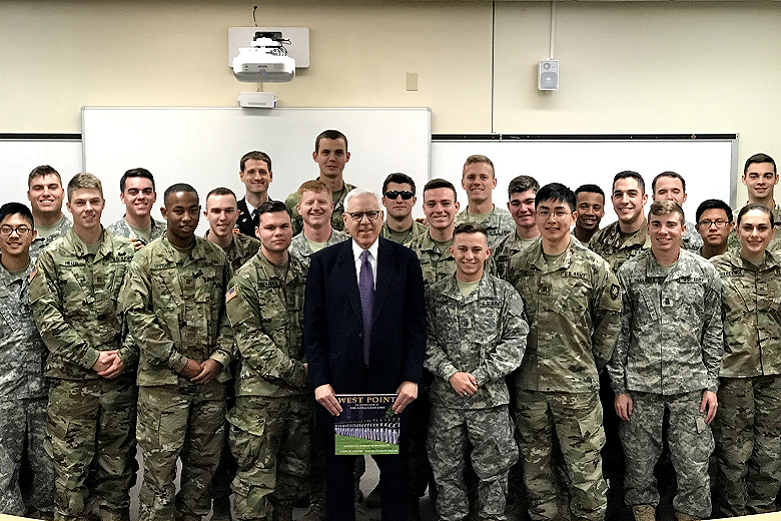 David Rubenstein visits with cadets
