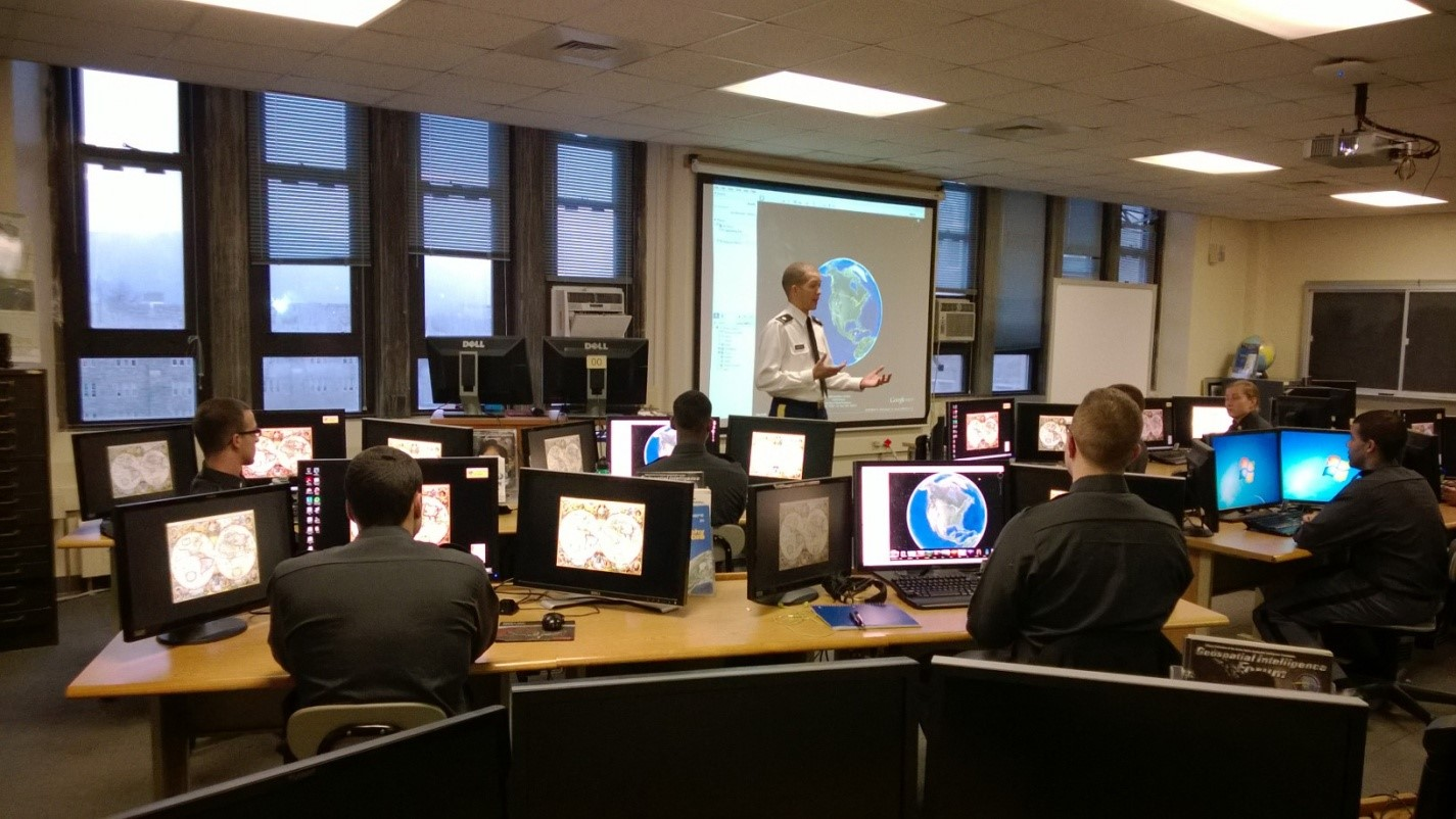 """COL Oxendine leading cadets through geospatial imagery and concept orientation"""