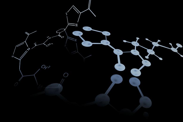 3D molecular structure of a molecule.