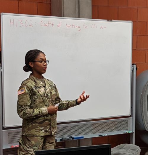Cadet Writing Fellow Braggs presents a writing workshop