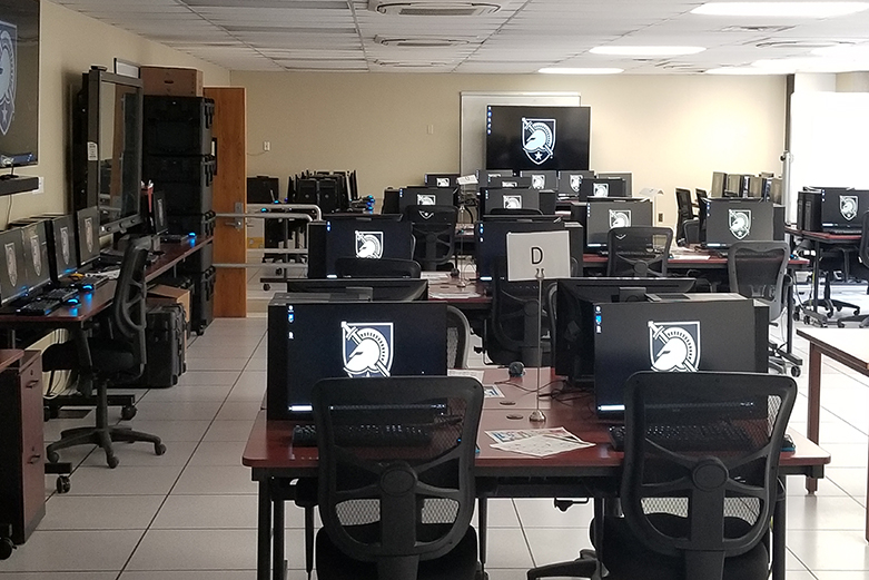 View of the computer lab at West Point where cadets can participate in esports.