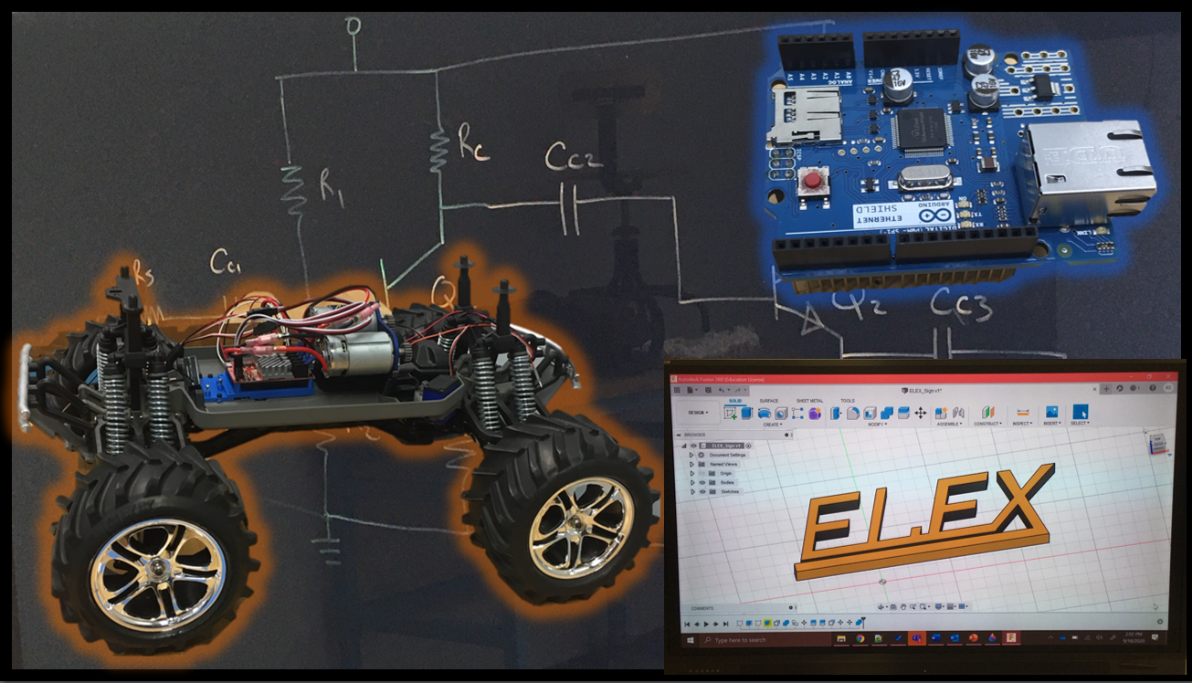 Collage of micro-controller, 3D design software, remote-controlled vehicle, and amplifier circuit.