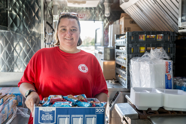 Following the Louisiana Flood, Salvation Army volunteers and staff provided more than 195k meals, 221k drinks,119k snacks, 23k service hours and more to those affected. Photo courtesy of Dave Haas.