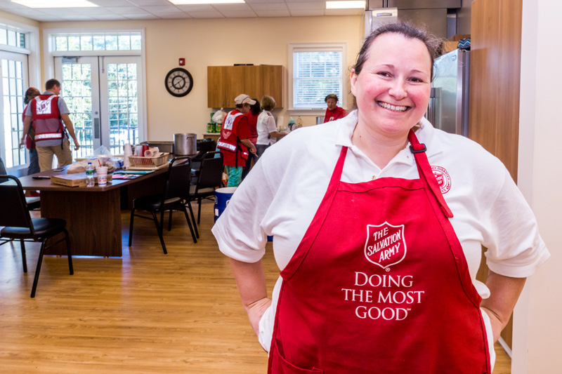 Lieutenant Heather Dolby drove 200 miles and shared a room with two other women to serve meals to a community that is not her own.