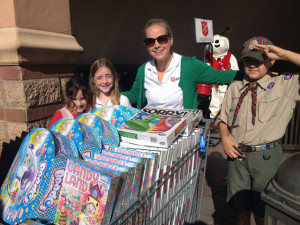 Hudson Amy Hudson, volunteer coordinator for the Southern California Division, with kids collecting toys at a Walmart Fill the Truck Toy Drive in Porter Ranch, Calif., in December 2014.