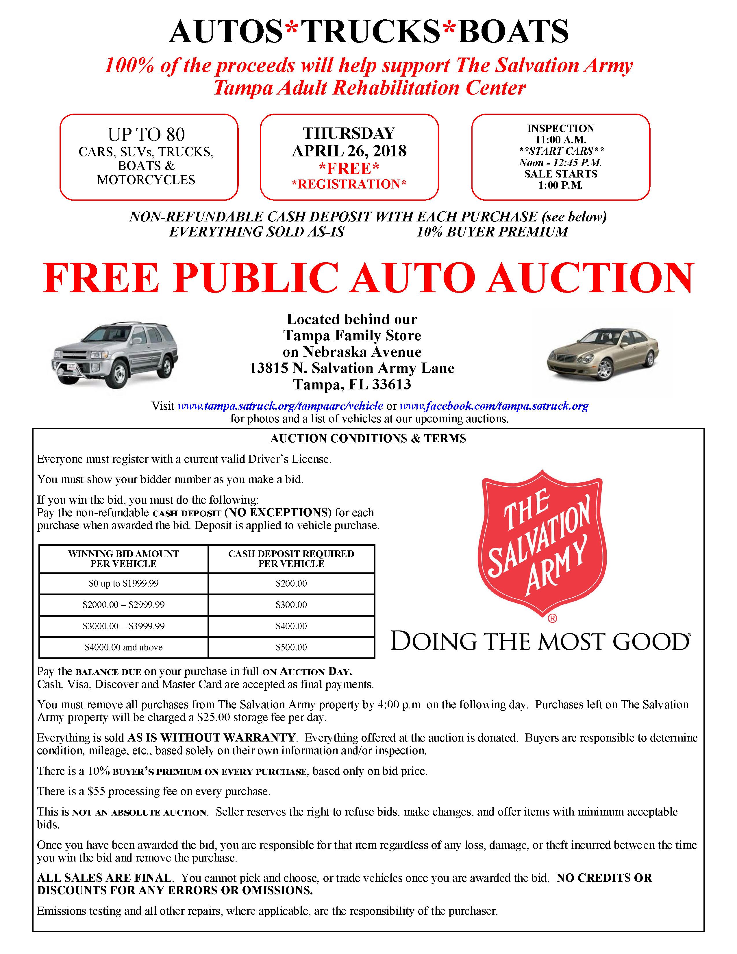 Tampa Florida Salvation Army Auto Auction