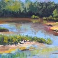 Patricia Rottino Cummins, View from the Walkway at Kenilworth  , Oil on canvas, Overall: 12 x 36in. (30.5 x 91.4cm)