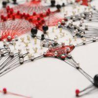 Gundega Strautmane, Untitled works from Braille series, Pins, thread