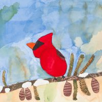 Beth Zmerzlikar, Red Bird on a Tree Branch, Watercolor and graphite on paper, Courtesy of the artist and Creativity Explored, San Francisco, California