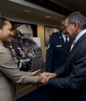 Secretary of Defense Leon Panetta with awardee