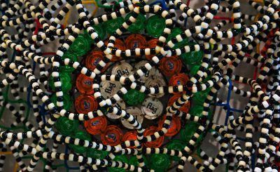 Detail of beads Nick Cave work Dakar