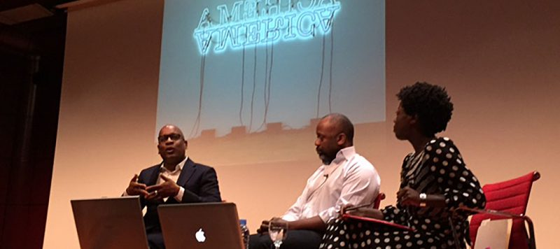 Glenn Ligon, Theaster Gates and Thelma Golden at the Matadero Reina Sofia lecture