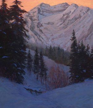 Steven Lee Adams, Winter Evening, Timpanogos, Oil on canvas, Lent by the artist, Alpine, Utah, courtesy of Mary Williams Fine Arts, Boulder, Colorado