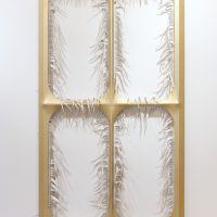 Blair Thurman, Gilded Invitation, Acrylic on canvas on wood, Overall: 89 × 51 1/8 × 3 1/8in. (226.1 × 129.9 × 7.9cm), Courtesy of Gagosian Gallery and galerie frank elbaz, Paris, France
