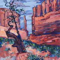 Erin Hanson, Red Rock Fins, Oil on canvas, Overall: 24 × 36in. (61 × 91.4cm), Courtesy of the artist, San Diego, California