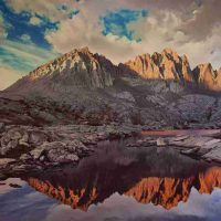 Alan Sonneman, Looking across upper Dusy Basin towards Mt. Agassiz and Mt. Winchell at sunset, Kings Canyon National Park, Overall: 56 × 72in. (142.2 × 182.9cm), Courtesy of the artist, Palo Alto, California