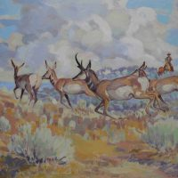 Harold Dow Bugbee, Panhandle Pronghorns, unframed 22 1/8 × 28 1/4in. (56.2 × 71.8cm); framed 25 5/8 × 31 7/8 × 2 1/4in. (65.1 × 81 × 5.7cm), Courtesy of the Panhandle-Plains Historical Museum