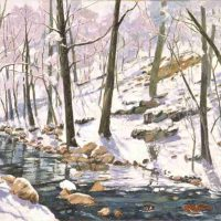 Harry Pattison, River Sunset in Winter, Overall: 24 × 36in. (61 × 91.4cm), Courtesy of the artist, Bellingham, Washington