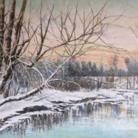 Harry Pattison, A Bend in the River in Winter, Overall: 29 1/2 × 40in. (74.9 × 101.6cm), Courtesy of the artist, Bellingham, Washington
