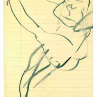 Willem de Kooning, Untitled, Charcoal on ruled yellow paper, Overall: 12 3/8 x 8in. (31.4 x 20.3cm), Courtesy of the Willem de Kooning Foundation