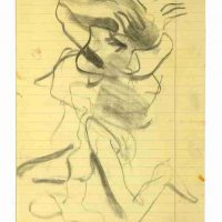 Willem de Kooning, Untitled, Charcoal on ruled yellow paper, Overall: 8 x 12 1/2in. (20.3 x 31.8cm), Courtesy of the Willem de Kooning Foundation