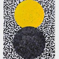 Isaac Tin Wei Lin, Broken Spell, Enamel on vinyl, Overall: 107 x 70in. (271.8 x 177.8cm), Courtesy of the artist and Fleisher/Ollman, Philadelphia, Pennsylvania