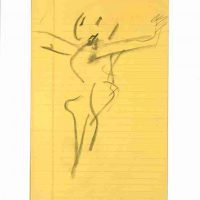 Willem de Kooning, Untitled, Charcoal on ruled yellow paper, Overall: 12 1/2 x 7 15/16in. (31.8 x 20.2cm), Courtesy of the Willem de Kooning Foundation