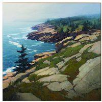Michael Karas, Coast of Acadia, Oil on board, Overall: 48 x 48in. (121.9 x 121.9cm), Courtesy of Bank of America Corporation, Charlotte, North Carolina