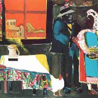 Romare Bearden, Autumn of the Rooster, Overall: 28 1/4 x 33 1/4 x 3/4 in. (71.8 x 84.5 x 1.9 cm), Collection of Art in Embassies, Washington, D.C.