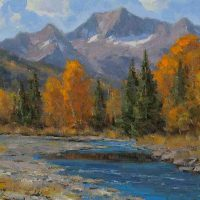 Dan Young, Late September on the Chrystal, Oil on canvas, Framed: 17 x 20in. (43.2 x 50.8cm); unframed: 11 x 14in. (27.9 x 35.6cm), Courtesy of the artist and Ann Korologos Gallery, Basalt, Colorado
