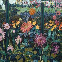 Fay Peck, Gardener Zartes' Prize Dahlias, Overall: 52 1/2 x 40 1/2 x 2 in. (133.4 x 102.9 x 5.1 cm), Collection of Art in Embassies, Washington, D.C.