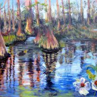 Patricia Rottino Cummins, Big Cypress National Preserve, oil on canvas, Triptych overall: 30 x 120in. (76.2 x 304.8cm); each 30 x 40