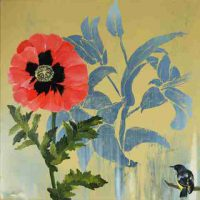 Jennifer Bain, Poppy, Overall: 22 x 22in. (55.9 x 55.9cm), Courtesy of the artist, and Elins Eagles-Smith Gallery, San Francisco, California