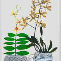 Jonas Wood, 2 Yellow Orchids, Oil on canvas, Overall: 43 × 26 3/4 × 3 1/2in. (109.2 × 67.9 × 8.9cm), Courtesy of David Kordansky Gallery, Los Angeles, California