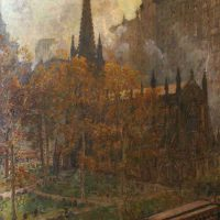 Colin Campbell Cooper, Trinity Church, Framed:  40 1/4 x 30 1/4 x 1 3/4 in.  (102.2 x 76.8 x 4.4 cm); image:  35 1/4 x 25 3/4 in.  (89.5 x 65.4 cm), Collection of Art in Embassies, Washington, D.C.; Gift of Mr. and Mrs. Philip Berman