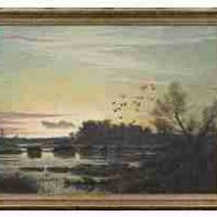 Reveau Bassett, Sunset, Oil on canvas, Overall: 42 1/4 x 54 1/4 x 2 3/8in. (107.3 x 137.8 x 6cm), Courtesy of the Dallas Museum of Art, Texas, Gift of Summerfield G. Roberts