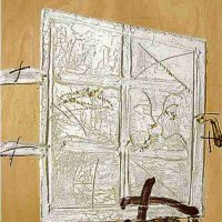 Antoni Tapies, Porta Blanca, Mixed media on wood, 78 3/4 x 68 7/8in. (200 x 175cm), Courtesy of Sidercal Minerales Collection, Asturias, Spain and Edward Tyler Nahem Fine Art, LLC, New York.