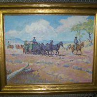 Harold Dow Bugbee, Moving the Wagon, Oil on canvas, Overall: 29 5/8 × 35 3/8in. (75.2 × 89.9cm), Courtesy of the Panhandle-Plains Historical Museum, Canyon, Texas; Gift of Harold D. Bugbee