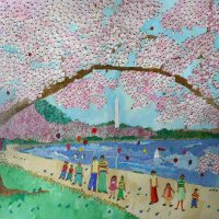 Susan Pear Meisel, Cherry Blossoms, Overall: 29 1/2 x 33 1/2 x 2 in. (74.9 x 85.1 x 5.1 cm), Collection of Art in Embassies, Washington, D.C.; Gift of Aaron J. Miller