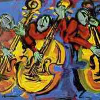 Verna Hart, Bass Walkin', Serigraph, Framed: 34 x 41in. (86.4 x 104.1cm); unframed: 22 x 30in. (55.9 x 76.2cm), Courtesy of the artist and Just Lookin' Gallery, Hagerstown, Maryland