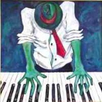 Verna Hart, Piano Man, Serigraph, unframed: 32 x 32in. (81.3 x 81.3cm), Courtesy of the artist and Just Lookin' Gallery, Hagerstown, Maryland