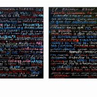 Mark Cameron Boyd, Untitled (Participatory Installation), Blackboard paint, chalk, pastel and pencil on birch panel, Each, of two panels: 48 x 72 in. (121.9 x 182.9 cm), Courtesy of the artist, Beltsville, Maryland