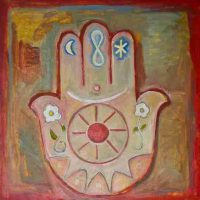 Roshan Houshmand, Hamsa, Oil on canvas, Overall: 30 x 30in. (76.2 x 76.2cm), Courtesy of the artist, Andes, New York