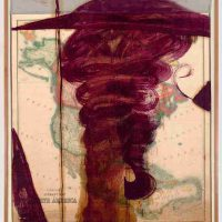 Julian Schnabel, North America, Oil on map and fabric, mounted on linen, Overall: 81 x 65 1/4in. (205.7 x 165.7cm), Courtesy of the artist and Sperone Westwater, New York, NY