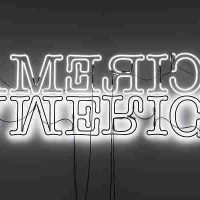 Glenn Ligon, Double America, Neon and paint, Overall: 36 x 120in. (91.4 x 304.8cm)