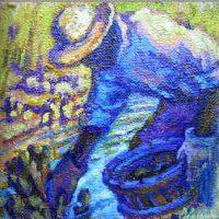Olessia Maximenko, Rockville Oyster Pickers, Oil on canvas, Each, of three: 12 x 12 in. (30.5 x 30.5 cm), Courtesy of the artist, Washington, Georgia